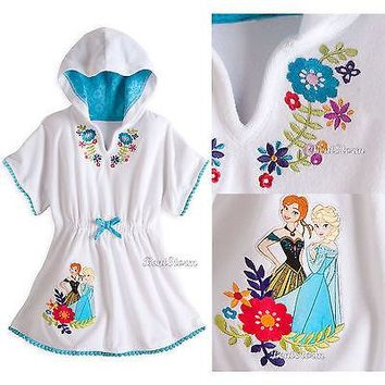 Licensed cool Frozen Queen Elsa & Princess Anna Swimsuit Cover-Up Hooded Robe 5/6 Disney Store