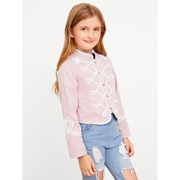 Girls Button Up Contrast Binding Jacket