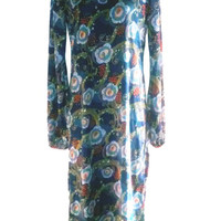 Blue Floral Silk Jersey Dress - Midi Length Dress with Gathered Peasant Sleeves and Crew Neck
