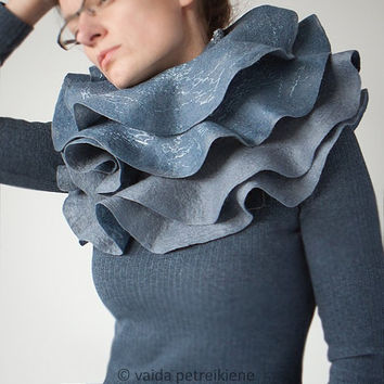 Nuno Felted Ruffle Shawl / Wavy Scarf in Grey and Jeans by vart