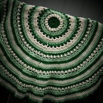 Green Baby round crochet afghan or blanket in by scraptrapped