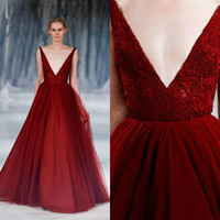 Vintage  Tulle Evening Dresses Paolo Sebastian Deep V-Neck Sleeveless Zipper Back Appliques Lace Formal Drsesses Evening