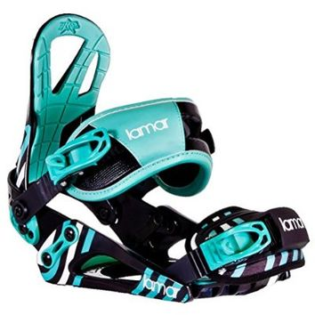 Lamar Aries Womens Snowboard Bindings Medium Black-Blue-Green
