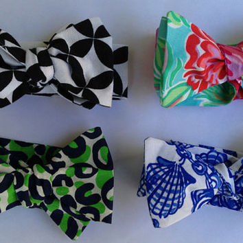Summer Classic White Fallin in Love Lilly Pulitzer now Adjustable Bow Tie Necktie Game Day Sorority MONOGRAM