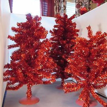 Vintage RED Aluminum Christmas Tree Set of 3 Great Mid Century 1950's 60's