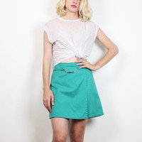 Vintage 90s Teal Green Girl Scout Skort Elastic High Waisted Metal Belt Chain Uniform Shorts Mini Skirt Camp Preppy 1990s Wrap XS S Small M