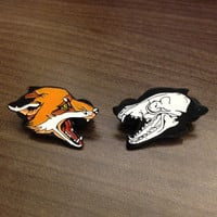 life & death fox head lapel pin set