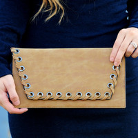 Treat Your Heart Clutch: Tan