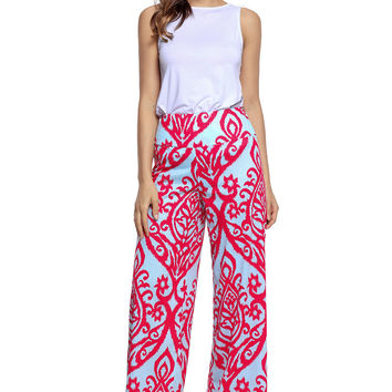 Red Damask Print Blue Palazzo Pants LAVELIQ