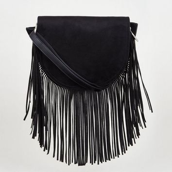 Black Suedette Fringe Cross Body Bag | New Look