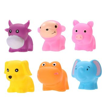 6pcs Soft Rubber Float Squeeze Sound Dabbling Toys Baby Wash Bath Play Animals Dog Monkey Elephant Pig Cow Bath Toy