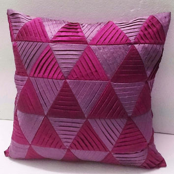 modern decorative pillow-pink zig zag pleated origami triangle pleated cushion-home decor-accent pillow-hand sticthed pillow