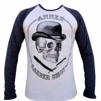 Barber Shop Mens Raglan Baseball Tee