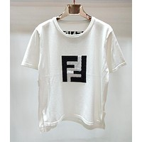 Fendi Summer New Popular Women Casual Knit Short Sleeve And High Waist Double F Letter Wide-Legged Nine Points Pants Coffee I12368-1