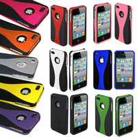 Color Black 3-Piece Rubberized Hard Case Cover for iPhone 4 4S Accessory