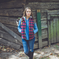 Bonfire Plaid Vest in Blue and Red