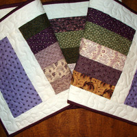 Quilted Table Runner  14 x 55 handmade, machine quilted, patchwork, purple, green, white, washable. Great for Mothers Day.