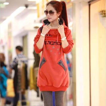 Women's Color Splicing Print Hooded Long Sweatshirt Hoodie Coat Outwear - Available 2 Great Colors!