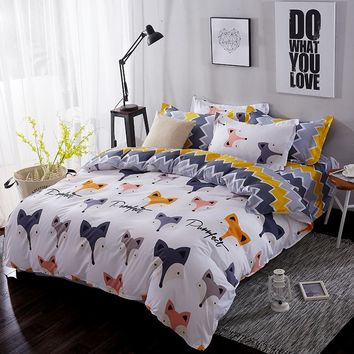 BEST.WENSD Luxury Ultra soft 100% cotton bedding sets fox horse deer bed linen for children zipper duvet cover-king bedclothing