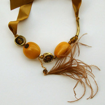 OSHUN - Handmade - UNIQUE - necklace -accessories - summer necklace -ostrish feather tassel - tribal necklace - african jewelry inspiration