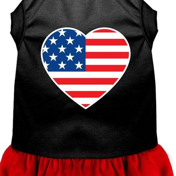American Flag Heart Screen Print Dress Black With Red Sm (10)