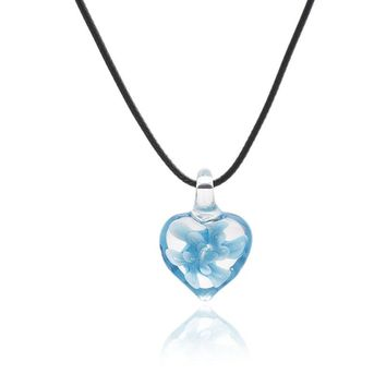 Sky Blue Color Heart Shape Art Murano Lampwork Glass Pendant Necklace with Flowers Inside for Women Girls Summer Jewelry