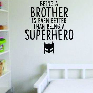 Brother Superhero Decal Sticker Wall Vinyl Decor Art Home Bedroom Living Room Son Kids Nursery Funny Cute Family Twins Hero Mask