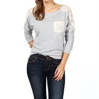 Heather Grey Lace Raglan Pocket Top