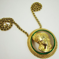 Lucien Piccard Lady Cameo Necklace Huge Runway Art Nouveau Style Statement Jewelry