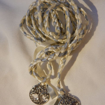 Ivory Silver  Elvish Tree Of Life Wedding Hand Fasting/ Binding Cord