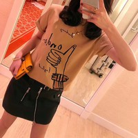 """""""Burberry"""" Women Casual Fashion Personality Gesture Pattern Print Short Sleeve T-shirt Top Tee"""