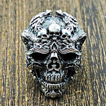 DCCK3SY Skull rings Big size 925 Sterling SILVER MENS RING Sport BIKER ROCKER Resizable