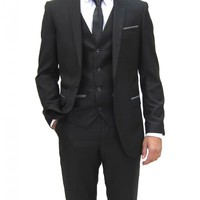 Mens designer Black Three Piece Suit with Grey trim (Bobby)