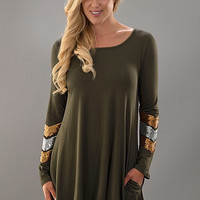 A Touch of Glamour Dress - Olive