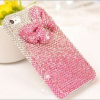 Bestgoods — Shiny Pink Bowknot Rhinestone Handmade Hard Cover Case For Iphone 4/4s/5