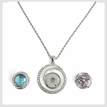 """Pendant with AB Crystals 18"""" Chain for Standard Snaps 20mm 3/4"""""""