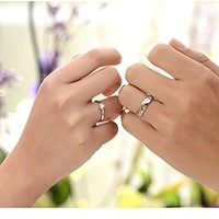Podaja(TM) 1 Pair Lovers Heart Silver Crystal Couple Rings Her and His Promise Ring Band