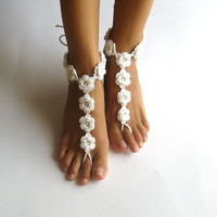 Summer Wedding Barefoot Sandals White Cotton Nude Shoes Crochet Bridal Sandals Floral Barefoot Shoes Flower Beach Beaded Toe Sandals SC0008