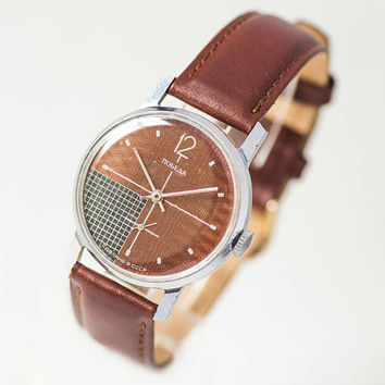 Men's watch Pobeda Victory brown copper grey shades checked face watch men accessory modern watch gift him USSR premium leather strap new