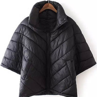 Black Quilted Poncho Coat