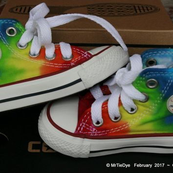 toddler sz 3 rainbow hand dyed converse hi top sneakers