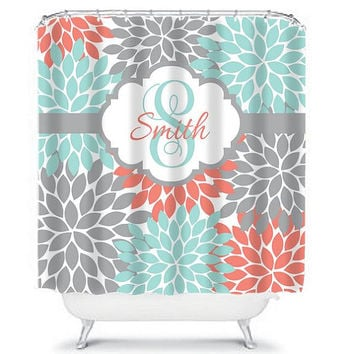 SHOWER CURTAIN Custom MONOGRAM Personalized Bathroom Decor Flower Burst Pattern Coral Aqua Gray Beach Towel Plush Bath Mat Made in Usa