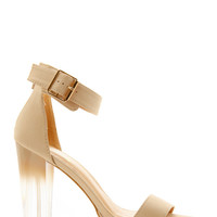 Ombre Lucite Ankle Strap Heels