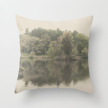 Pillow Cover, Photo Pillow, Lake Reflection, Soft Pink Green Trees, Nature Pillow, Home Decor,  Living Room, Cabin, 16x16, 18x18, 20x20