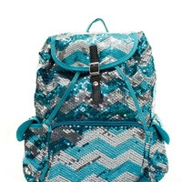 Chevron Sequin Backpack Aqua