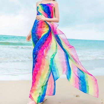 DCCKLW8 Pareo Scarves Women Long Cover Up Striped Rainbow Print Chiffon Sarongs Hijab Beach Cover Up Bikini Scarf