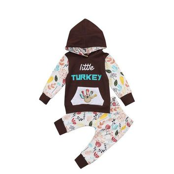 2PCS/ Cute Little Turkey Hoodie + Floral Pants Thanksgiving Outfit for Newborn