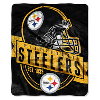 Pittsburgh Steelers NFL Royal Plush Raschel Blanket (Grand Stand Raschel) (50in x 60in)