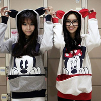 New Cute Mickey Mouse Ear Emo Sweater Top Shirt Jumper Hoodie Sweats S M L