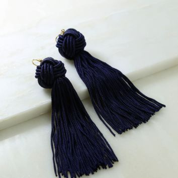 Vanessa Mooney x Navy Astrid Knotted Tassel Earring